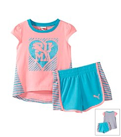 PUMA® Baby Girls' Hi Low Striped Shorts Set