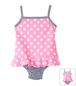 Carter's® Baby Girls' 1-Piece Dot And Striped Swimsuit