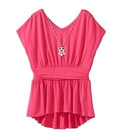 Amy Byer Girls' 7-16 Hi-Low Peplum Top