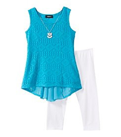 Amy Byer Girls' 7-16 Lace Hi-Low Tank and Leggings Outfit Set