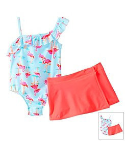 Carter's® Girls' 2T-6X Flamingo Swim Suit With Skirt Set