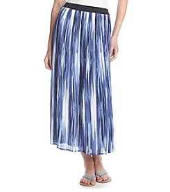 Notations® Abstract Print Pleated Skirt