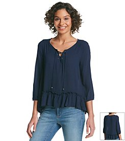 Taylor & Sage™ Lace Up Peasant Top