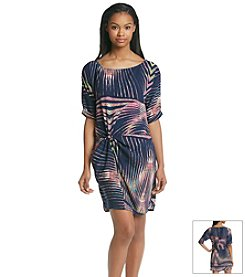 Potter's Pot Palm Print Blouson Dress With Drop Waist
