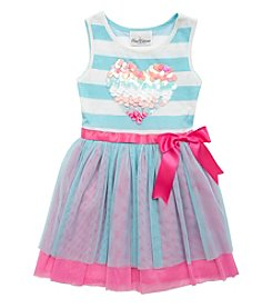 Rare Editions® Girls' 4-6X Sequin Heart Striped Dress
