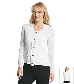 Laura Ashley® Petites' Mixed Media Sweater