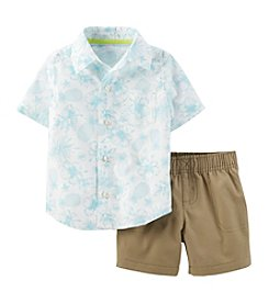 Carter's® Boys' 2T-4T 2-Piece Poplin Top And Canvas Shorts Set
