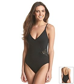 Laundry Glamour Embellished One Piece Swimsuit