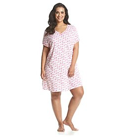 Intimate Essentials® Plus Size Flamingo Printed V-Neck Sleep Shirt