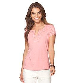 Chaps® Short Sleeve Henley Scoopneck Top