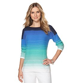 Chaps® Three-Quarters Sleeve Ombre Sweater