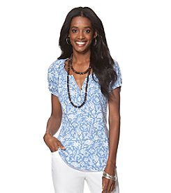 Chaps® Short Sleeve Floral Knit Top