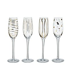 Mikasa® Cheers Metallics Gold Set of 4 Champagne Flutes