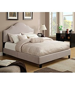 Home Meridian Upholstered Nailhead Saddle Taupe Queen Bed