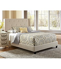 Home Meridian Upholstered Shelter Stone Queen Bed
