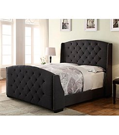 Home Meridian Linosa Charcoal Queen Upholstered Bed