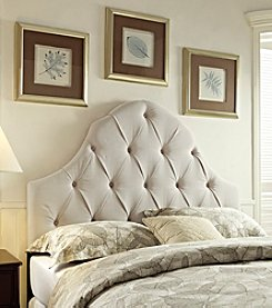 Home Meridian Round Top Taupe Tufted Headboard