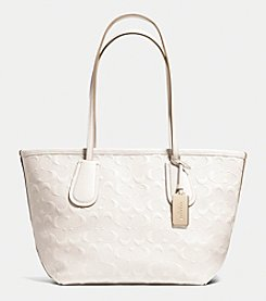 COACH TAXI ZIP TOTE 24 IN LOGO EMBOSSED LEATHER
