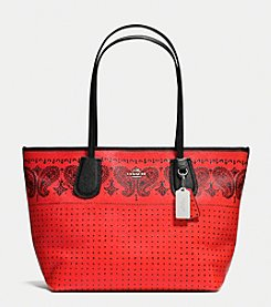 COACH TAXI ZIP TOP TOTE IN CROSSGRAIN LEATHER