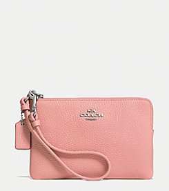 COACH CORNER ZIP WRISTLET IN POLISHED PEBBLE LEATHER