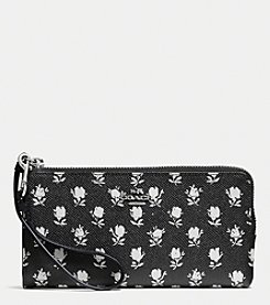 COACH ZIP WALLET IN PRINTED CROSSGRAIN LEATHER