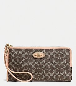 COACH L-ZIP WALLET IN EMBOSSED SIGNATURE CANVAS