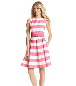 Chetta B. Textured Striped Fit And Flare Dress