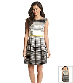 Julian Taylor Striped Contrast Sheath Dress