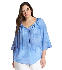 AGB® Plus Size Tie Dye Peasant Top
