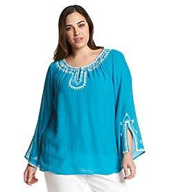 AGB® Plus Size Embroidered Peasant Top