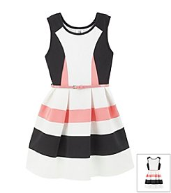 Beautees Girls' 7-16 Scuba Dress With Belt