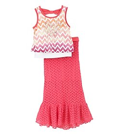 Beautees Girls' 4-6X Tank With Maxi Skirt Set
