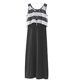 Amy Byer Girls' 7-16 Print Popover Maxi Dress