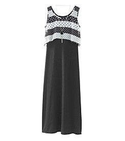 Amy Byer Girls' 7-16 Print Popover Maxi Dress