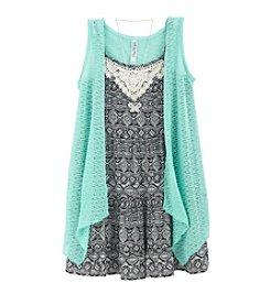 Beautees Girls' 7-16 3-Piece Vest and Dress Set