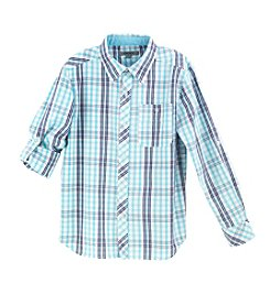 DKNY® Boys' 2T-20 Long Sleeve Woven Plaid Top