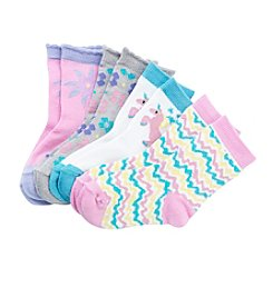 Miss Attitude Girls' Flower Crew Socks