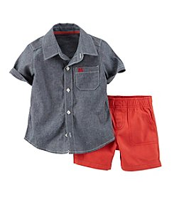 Carter's® Baby Boys' 2-Piece Chambray Top & Canvas Shorts Set