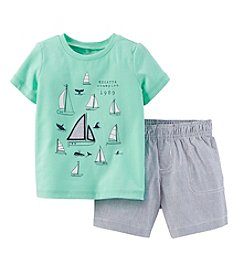 Carter's® Baby Boys' 2-Piece Sailboat Top & Hickory Striped Shorts Set