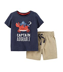 Carter's® Baby Boys' 2-Piece Captain Adorable Top & Canvas Shorts Set