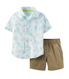 Carter's® Baby Boys' 2-Piece Poplin Top & Canvas Pants Set