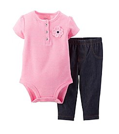 Carter's® Baby Girls' 2-Piece Bodysuit & Knit Denim Pants Set