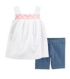 Carter's® Baby Girls' 2-Piece Woven Top & Faux Denim Shorts Set