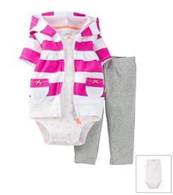 Carter's® Baby Girls' 3-Piece Hooded Cardigan Outfit Set