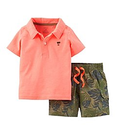 Carter's® Baby Boys' 2-Piece Neon Top & Poplin Shorts Outfit Set