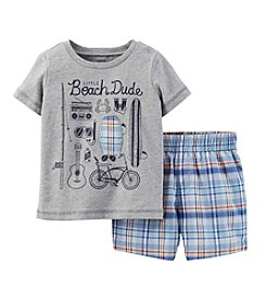 Carter's® Baby Boys' 2-Piece Jersey Top & Plaid Shorts Outfit Set