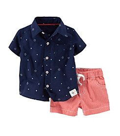 Carter's® Baby Boys' 4th Of July 2-Piece Poplin Top & Canvas Shorts Outfit Set