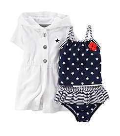 Carter's® Baby Girls' 4th Of July 3-Piece Tankini & Cover Up Set