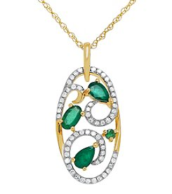 .21 ct. t.w. Diamond and Emerald Pendant in 10K Yellow Gold