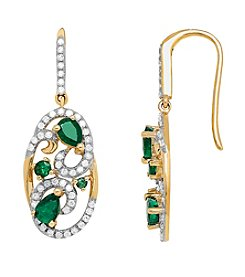 .30 ct. t.w. Diamond and Emerald Earrings in 10K Yellow Gold